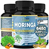 Organic Moringa Extract Capsules 6450mg, 6 Months Supply & Ashwagandha, Tulsi, Ginger, Turmeric  Energy Booster, Immune Support  Multi Vitamin Oleifera Leaf Powder Antioxidant Inflammatory Supplements