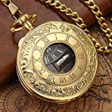 LOOMUCI Pocket Watch Exquise Gold Musical Movement Pocket Watch Hand Crank Playing Music Watch Chain Roman Number Carved Clock Happy New Year Gifts