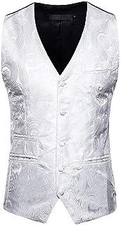 MU2M Men Paisley Floral Single Breasted V-Neck Suit Tuxedo Vest Waistcoat