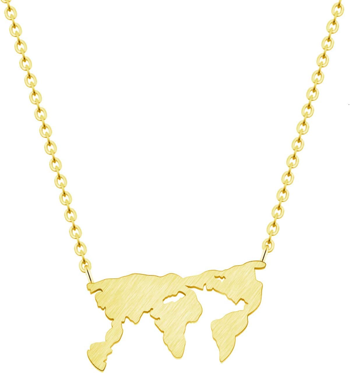 N/A Necklace Pendant World Map Pendant Necklace Earth Day Gift Fashion Jewelry Stainless Steel Gold Chain Earth Map Necklace Gifts Collar Woman Christmas Birthday Gift