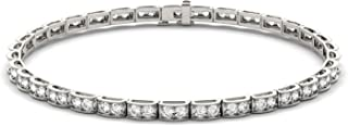 14K White Gold Moissanite by Charles & Colvard 1.8mm Round Tennis Bracelet, 1.71cttw DEW