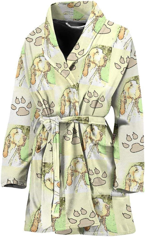 Deruj Bracco Italiano Dog Patterns Print Women's Bath Robe