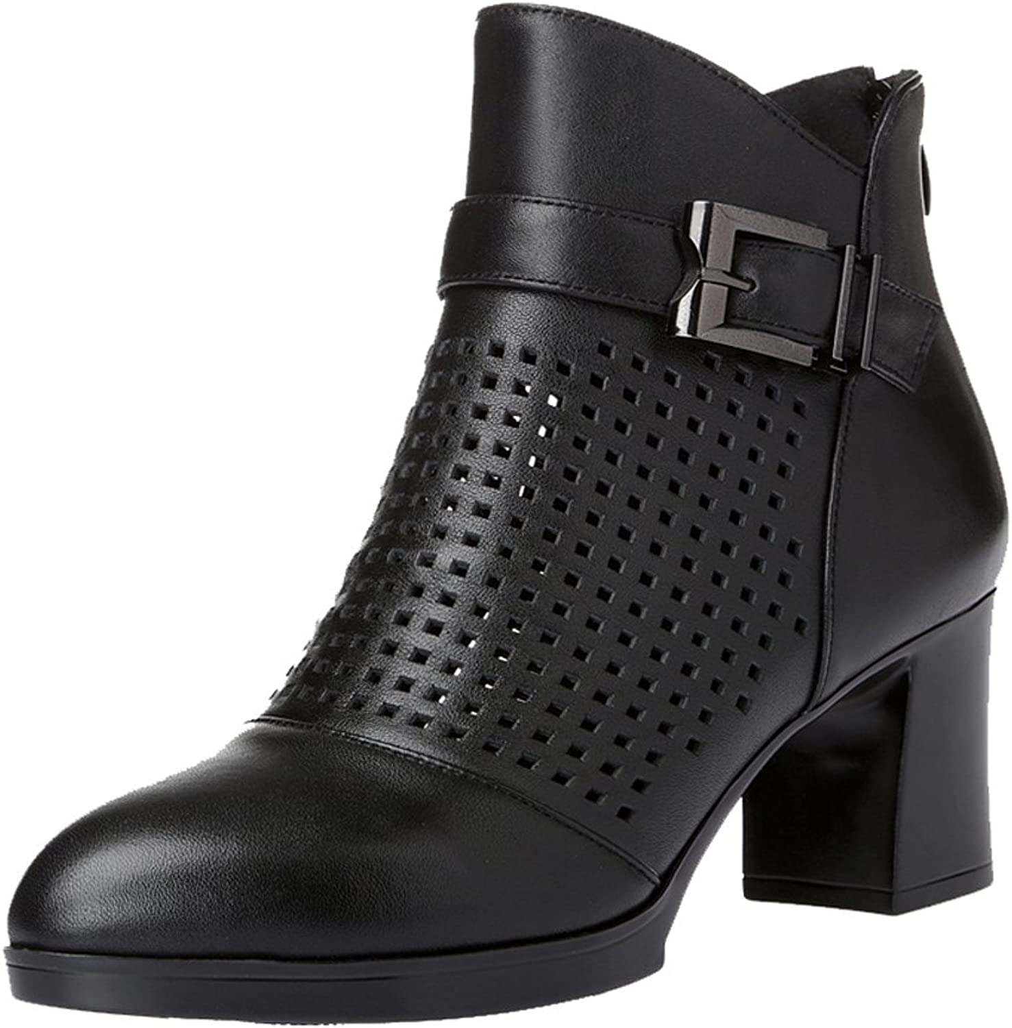 Dethan Women's Round Toe Chunky High Heel Ankle Boots
