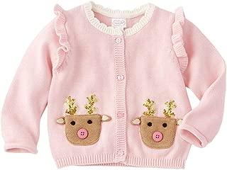Kids Girls Christmas Sparkle Pink Reindeer Cardigan Sweater