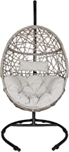Outdoor Patio Wicker Hanging Basket Swing Chair Tear Drop Egg Chair with Cushion and Stand (Beige)