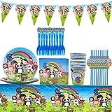Baby Bum Party Supplies Set - YUESEN Decoración de la Fiesta de Cumpleaños Infantil de Baby Bum Vajilla Cumpleaños Mantel Tenedores Cuchillos Platos de Suministros para 10 Niños(71 PCS)
