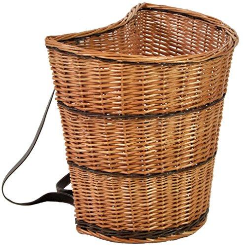 Cesta de mimbre (se coloca como una mochila) con correas de piel, ideal para la recolección de setas, leña, fruta, llevar objetos y para pícnics al aire libre