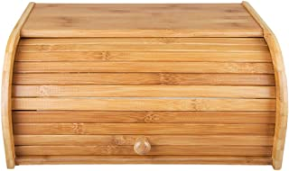 Bamboo Bread Box - Countertop Bread Storage Bin - Rolltop Breadbox - Bread Boxes for Kitchen Counter Large Capacity Bread Keeper,15.8