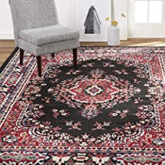 TRADITIONAL AESTHETIC: The Premium Sakarya rug collection showcases traditional patterns in classic black with red, ivory and blue accents that will complement your traditional home décor. RUG SIZES: 9 x 12 rugs, 8 x 10 rugs, 5 x 7 rugs, 4 x 5 rugs, ...