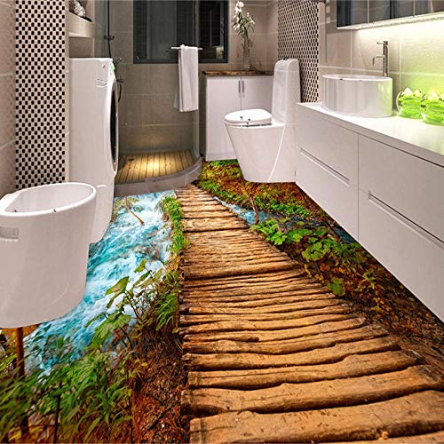 PVC Autoadhesivo Impermeable 3D Azulejos de suelo Etiqueta de papel de pared Puente de madera Piedra Río Murales fotográficos Papel tapiz Baño Fresco-150 * 105cm