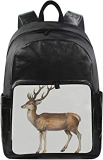 Deer Vintage Style Simple Backpack School Bags Casual Stylish Outdoor Sports Large Capacity Casual Travel Rucksack Student College Bookbag for Men Women Teenagers Black