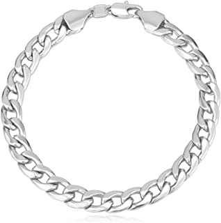 Men Women Cuban Link Bracelet with Free Custom Engrave Service, Stainless Steel/18K Gold Plated Classic 4MM-12MM Wide Curb Chain Wrist Bracelets, 21CM (8.3 Inch), Send Gift Box