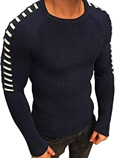 POQOQ T Shirt Men Winter Long Sleeve Solid Knitted Sweater Pullover Tops Blouse