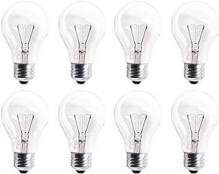 Pack Of 8 60A19/CL 560 Lumens 60 Watt Standard Household A19 E26 (Medium) Base Crystal Clear Incandescent Rough Service Light Bulb