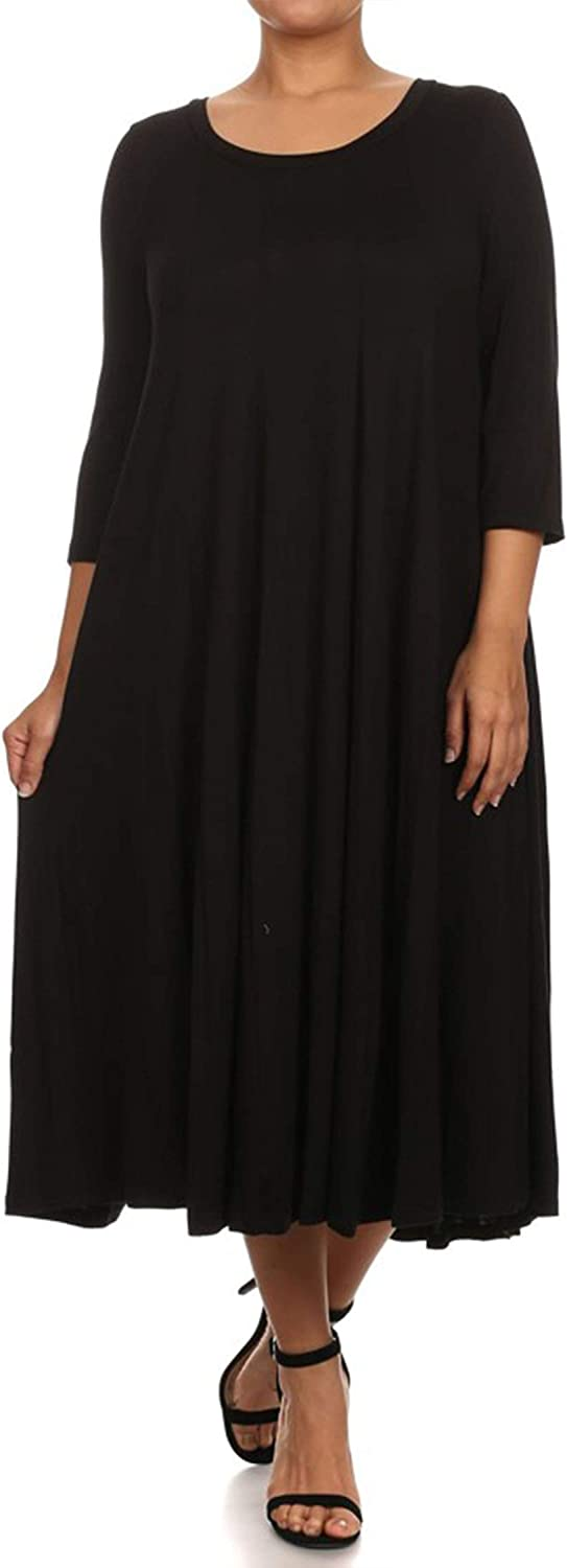 Plus Size Casual Comfy Solid Print 3/4 Sleeve A-line Midi Dress/Made in USA Black 3XL