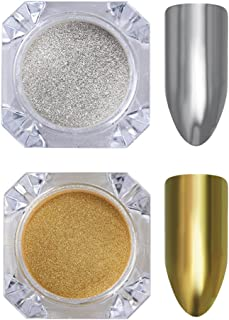 Born Pretty 2 Box Mirror Powder Gold Silver Pigment Nail Glitter Nail Art Mirror Powder with Matching Brushes Silver and Gold