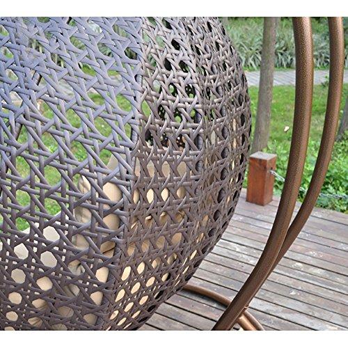 Home Deluxe – Polyrattan Hängesessel – Twin braun – inkl. Gestell, Sitz- und Rückenkissen | Hängestuhl Gartenschaukel Hängekorb - 6