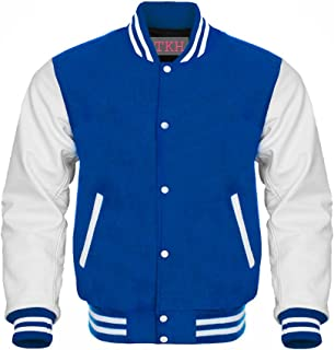 Letterman Varsity Jacket Royal Wool White Leather Sleeves