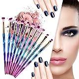 Nicedeal - Juego de brochas de maquillaje y pinceles para maquillaje (10 unidades), diseño de unicornio