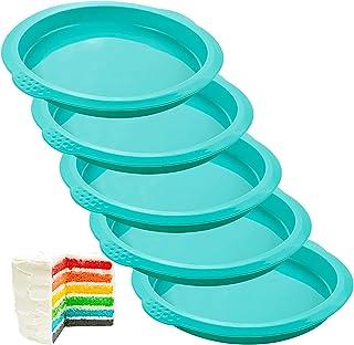 webake Moules à Gâteau Arc-en-Ciel Rond en Silicone 15 cm Moule Rainbow Cake Moulle à Patisserie de Cuisson pour Anniversa...
