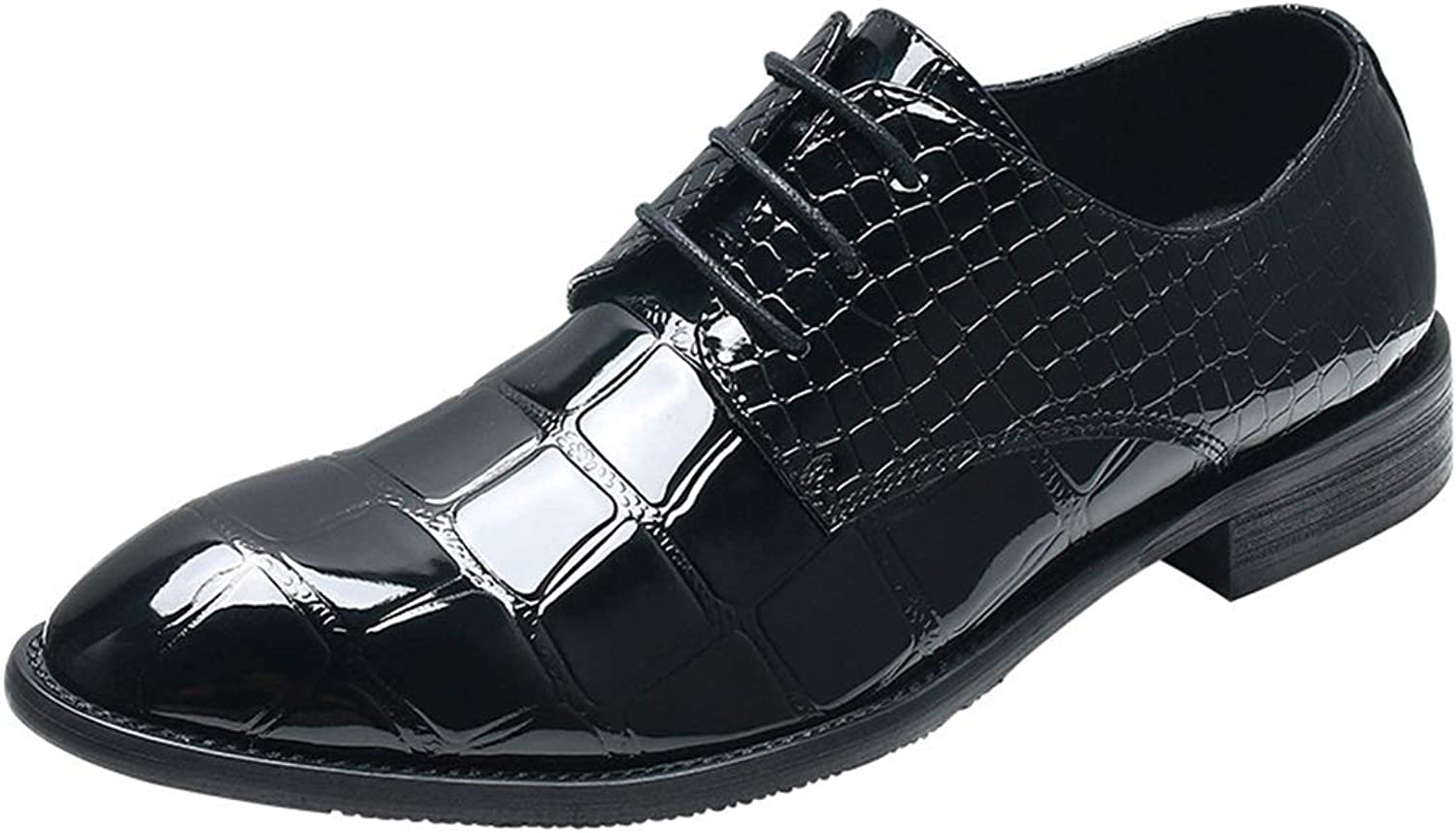 Men's shoes, Microfiber Leather British Business Pointed Casual Lace-up Low-top shoes for Wedding Casual Party & Evening (color   Black, Size   43)