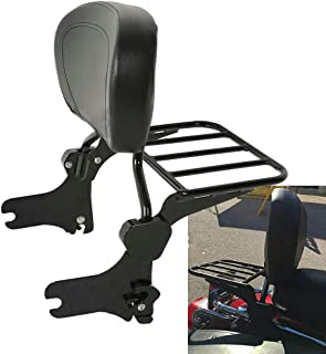 BBUT Black Quick Detach Backrest Sissy Bar W/Flat Luggage Rack For Harley Davidson Touring FLHR FLHX FLTR FLHT 1997 1998 1999 2000 2001 2002 2003 2004 2005 2006 2007 2008