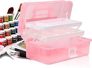 Craft Caddy Box Plastic Cantilever Box 3 lade kunst en ambachtelijke doos voor potloden verf Pastels Craft accessoires