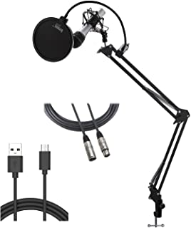 Audio-Technica ATR2100-USB USB/XLR Microphone with Knox Gear Boom Arm, Shock Mount, and Pop Filter