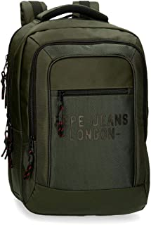 "Pepe Jeans Bromley Mochila Doble Compartimento para Portátil 15,6"" Verde 31x47x11 cms Poliéster 1.6L"