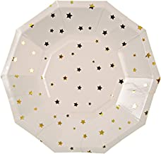 Meri Meri, Gold Star Confetti Small Plates, Birthday, Party Decorations, Dinnerware - Pack of 8