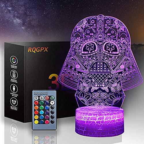Luz nocturna para niños Darth Vader C 3D ilusión lámpara LED mesa ilusión lámpara decoración del hogar regalo de cumpleaños para niños - Base Crackle