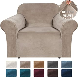 H.VERSAILTEX Stretch Velvet Armchair Cover Couch Covers 1 Cushion Chair Slipcover for Living Room Furniture Cover Crafted from Thick Comfy Rich Velour (Chair 32-48, Taupe)