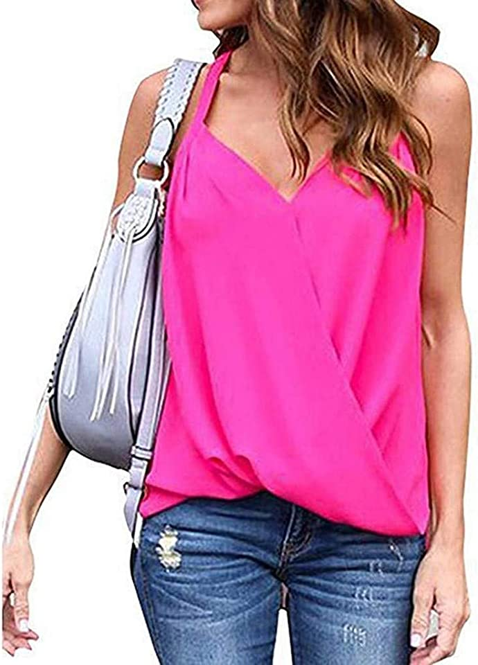 Womens Camisole Tank Tops,Theoylos Women V Neck Pleated Spaghetti Strap Tank Tops Casual Plus Size Shirts Blouses
