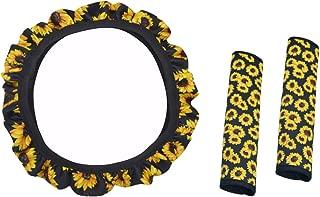 SeaHome Handmade Sunflower Steering Wheel Cover, Safe Non-Slip Neoprene Material Stretch-on Fabric Steering Wheel Cover with 2Pcs Seat Belt Covers Set Universal Fit