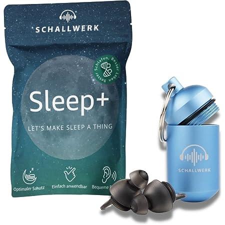 SCHALLWERK ® Sleep+ Ohrstöpsel zum Schlafen – Gehörschutz schlafen dämpft Lärm & Schnarchen – Ohrstöpsel schlafen ideal für ruhigen Schlaf und gegen Schnarchen