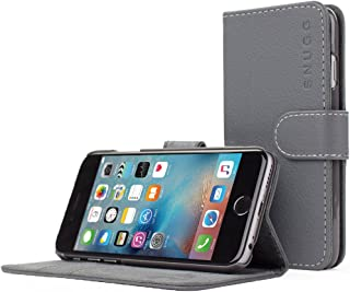 Snugg iPhone 6 Case - Leather Wallet Case with (Gray) for Apple iPhone 6
