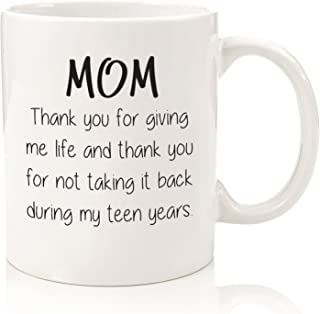 Gifts For Mom - Funny Mug - Thank You For Giving Me Life - Best Mom Gifts - Unique Mothers Day Present Idea For Her From Daughter, Son - Gag Birthday Gifts For Moms, Women - Fun Novelty Coffee Cup