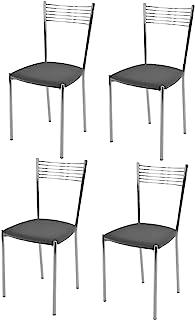 Tommychairs - Set 4 sillas Elegance para Cocina, Comedor, Bar y Restaurante, Estructura en Acero Cromado y Asiento tapizado en Polipiel Color Gris Oscuro