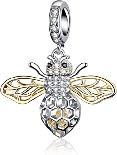 925 Sterling Silver Cute Bee Drop Earrings and Necklace Pendant Charm for Women Teen Girls Bee Jewelry Set