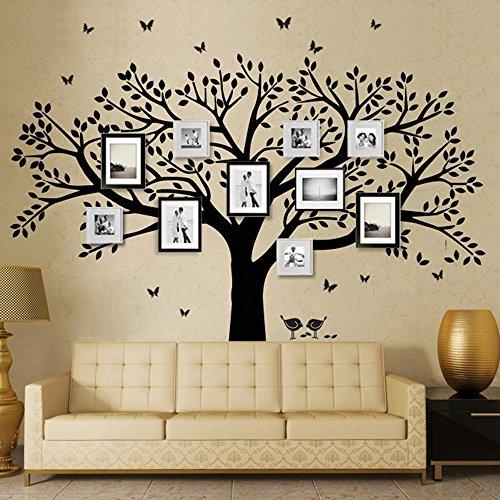 MJW Stammbaum Wandtattoo Schmetterling Und Vogel Wandtattoo Vinyl Wandkunst Bilderrahmen Baum Aufkleber Wohnzimmer Home Decor Wandaufkleber