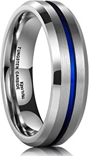 King Will Loop 6mm/8mm Blue Tungsten Carbide Ring Wedding Band High Polished Comfort Fit