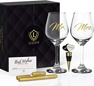 LUXURY MR & MRS WINE GLASS SET FOR COUPLES- Best Engagement Gifts for Her, Bride & Groom, Bridal Shower Gifts, Wedding Gifts For The Couple- FREE Wine Stopper, Glass Marker & Gift Card