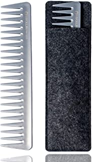 HYOUJIN Pro 601 Ionic Anti-Static wide tooth Comb,Silver Gloss Finsh, Japanese Material,Light Weight,Static-free, heat and chemical resistant.