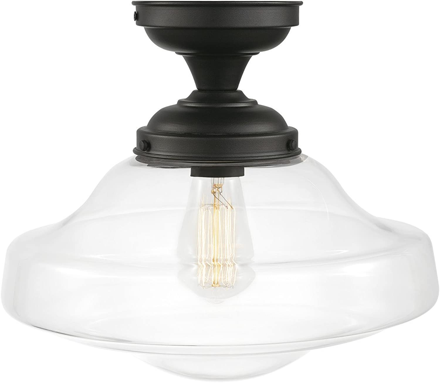 Globe Electric 65849 Lucerne 1-Light Semi-Flush Mount Dark Bronze with Clear Shade