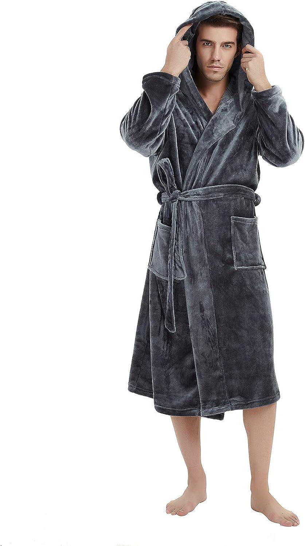 U2SKIIN Mens Hooded Robe, Plush Robes for Men Long Fleece Bathrobe