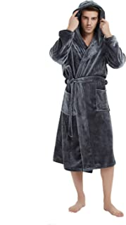 U2SKIIN Mens Hooded Robe, Plush Robes for Men Long Fleece Bathrobe