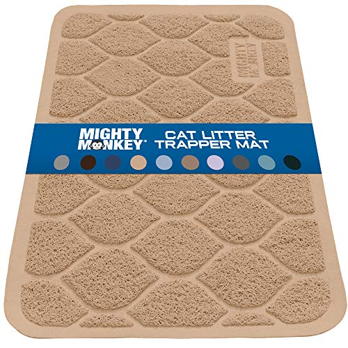 MIGHTY MONKEY Premium Cat Litter Trapping Mats, Phthalate Free, Best Scatter Control, Jumbo XL Sizes, 35 x23 inches, Mat Traps Litter, Easy Clean, Soft on Kitty Paws, Taupe
