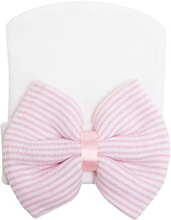 Newborn Hospital Hat Baby Hats Nursery Beanie Cap with Bow Cute Stripe Infant Hat Soft Turban Hats for Baby Girls
