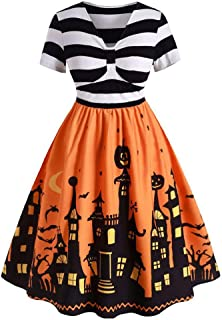 Iusun Women's Halloween Vintage 1950s Flare Dress Short Sleeve V Neck Print Party Swing Rockabilly Prom Cocktail Hepburn Tea Skirt