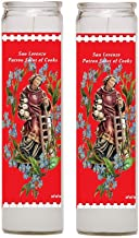Gifts by Lulee, LLC Saint Lawrence San Lorenzo Patron of Chefs and Cooks Set of 2 Candles with Blessed Prayer Card or Set of 2 Candles Only (Candles)